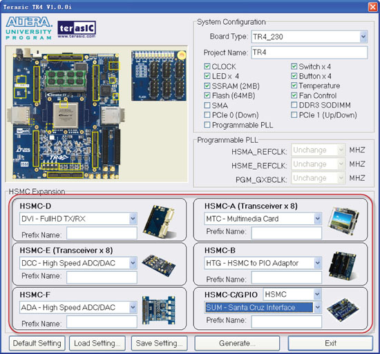 Terasic TR4 System Builder